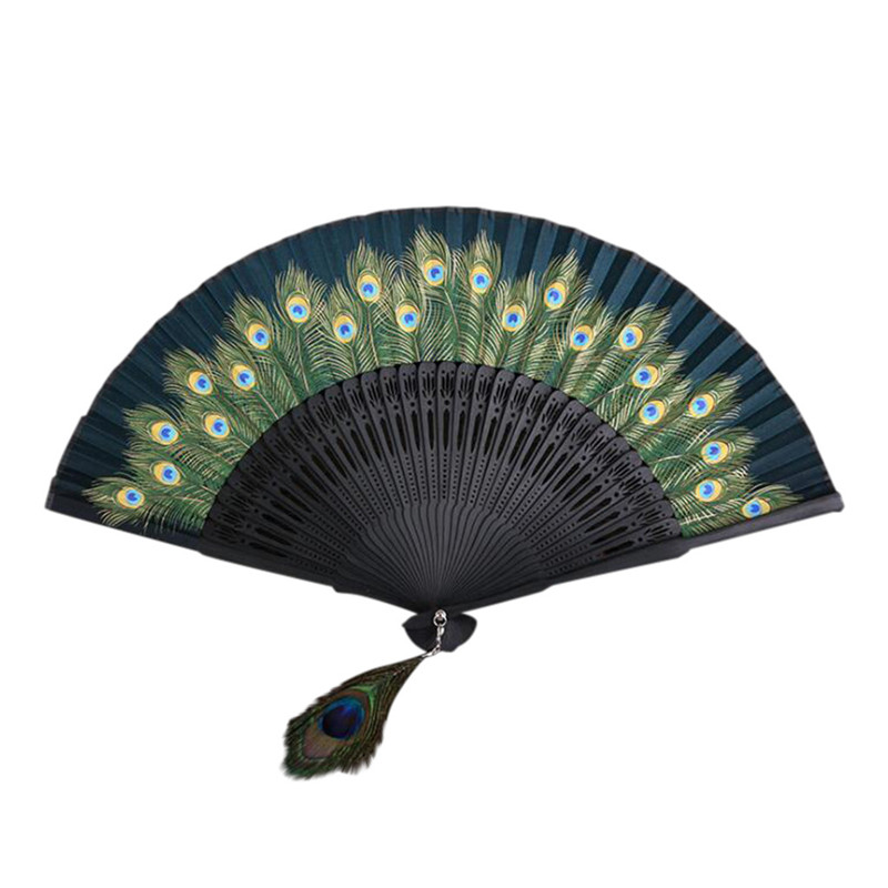 Hand Held Fans Bamboo Paper Folding Fans Handheld Folded Fan Chinese Style For Church Party Wedding Gift Vintage Home Decor