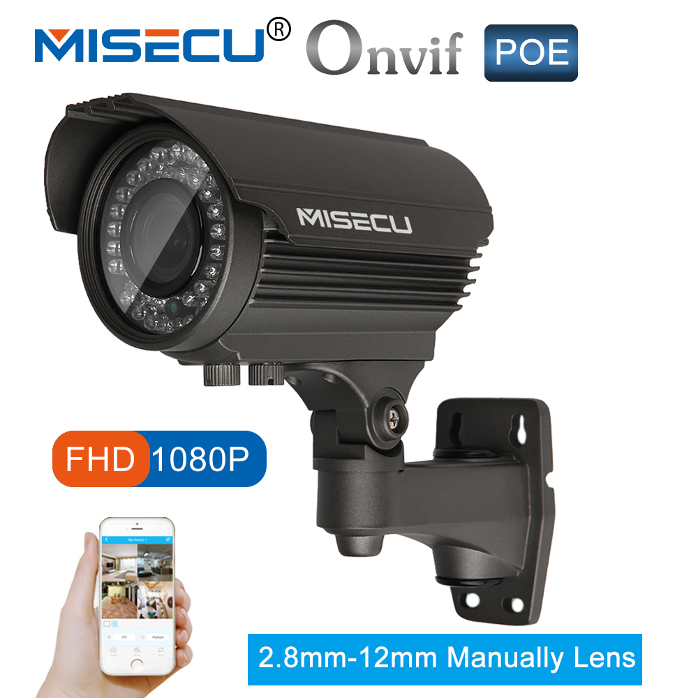 MISECU Full HD 2.0MP 48 v POE 2.8-12mm zoom Caméra 25fps IP Power Over Ethernet Sur/ nuit intérieure Vision ONVIF IR Étanche P2P