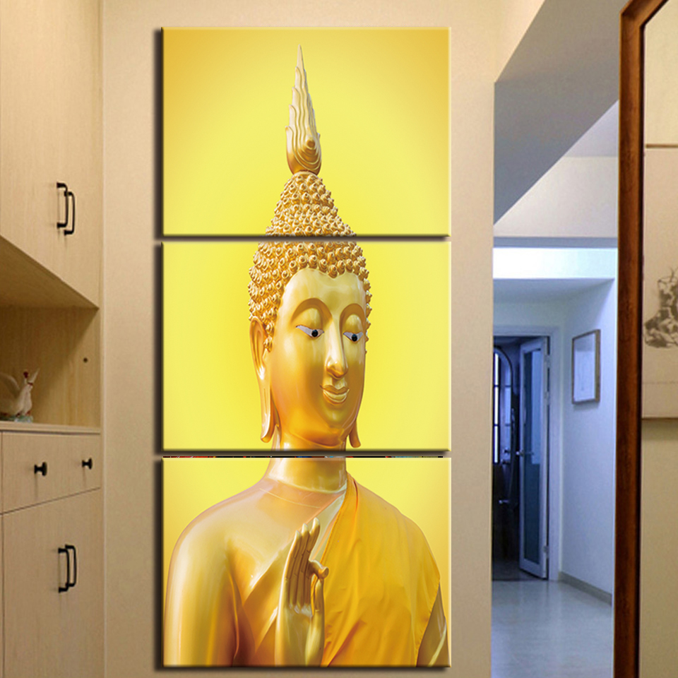 Framed Modern HD Printed 3 Piece Canvas Wall Art Buddha Painting ...