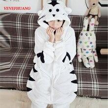 c0109bb38c VEVEFHUANG Inverno Adulto Con Cappuccio White Tiger Onesies Pigiami Unisex Cosplay  Costume Tutina Animale Sleepwear Donna