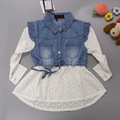 Girls casual dress,white princess belt Crochet denim dress Long-sleeve Spring shirt dresses lovely baby girls clothes 3-8 Years
