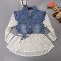 Meninas vestido casual, vestido branco cinto princesa vestido de Crochê denim Longo-luva camisa Primavera vestidos linda roupa dos bebés 3-8 Anos
