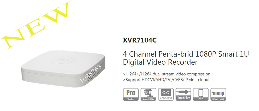 DAHUA 2017 NEW Product 4 Channel Penta-brid 1080P Smart 1U Digital Video Recorder Without Logo XVR7104C xvr4108c s2 cctv xvr new product 8channel penta brid 720p smart 1u digital video recorder without