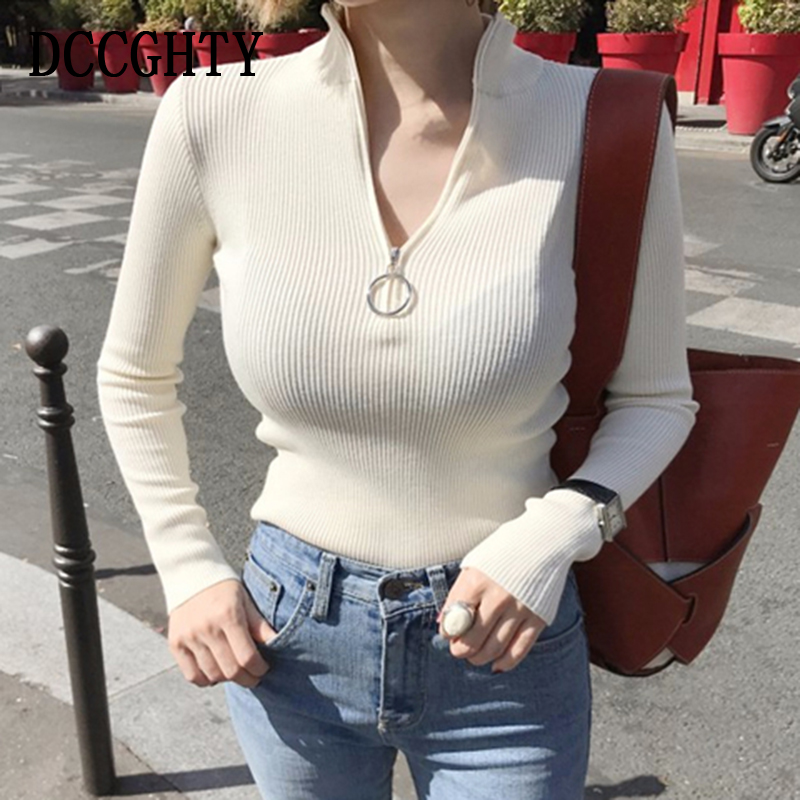 Turtleneck Women Sweater And Pullovers Fall Korean Fashion Autumn Zipper Knitted Sweater Women High Elastic Solid Tops #4