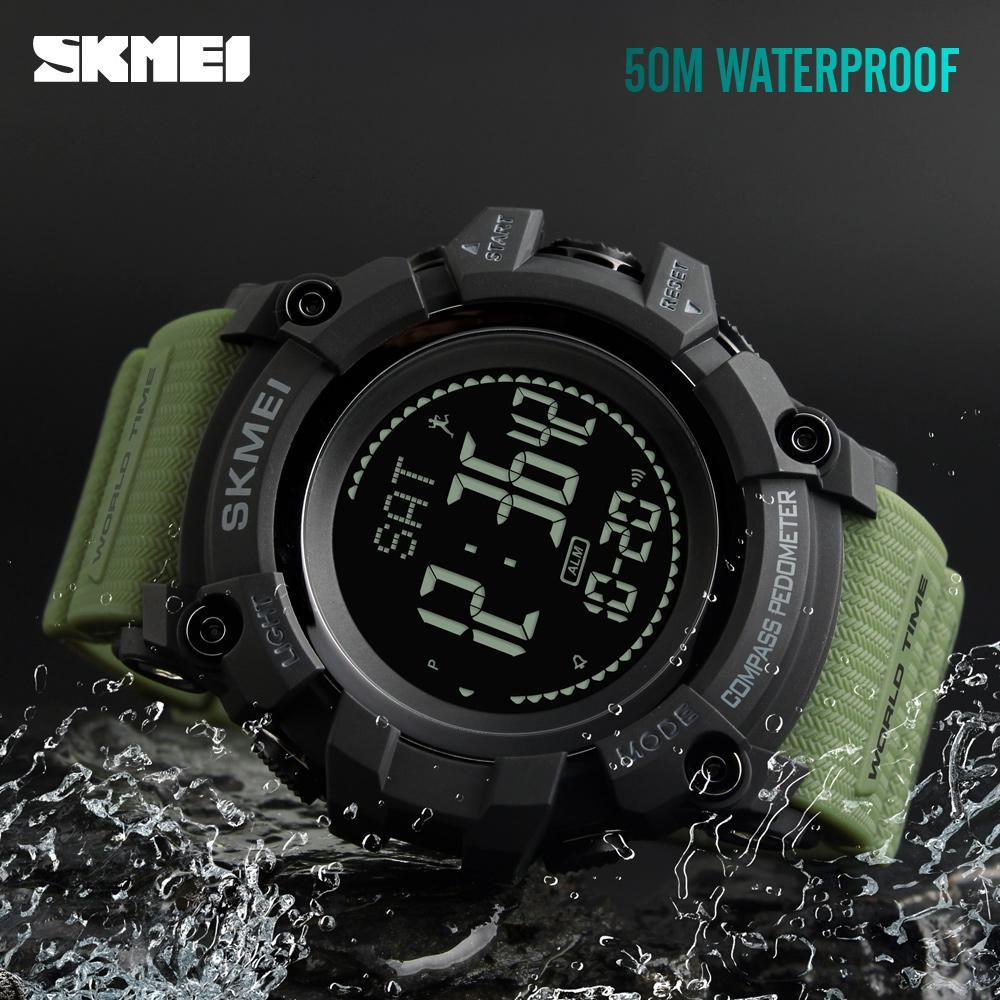 все цены на SKMEI Military Sports Watches Waterproof Compass Pedometer Calorie Men Watch World Time 12/24 Hours Electronic Digital Watch Men онлайн