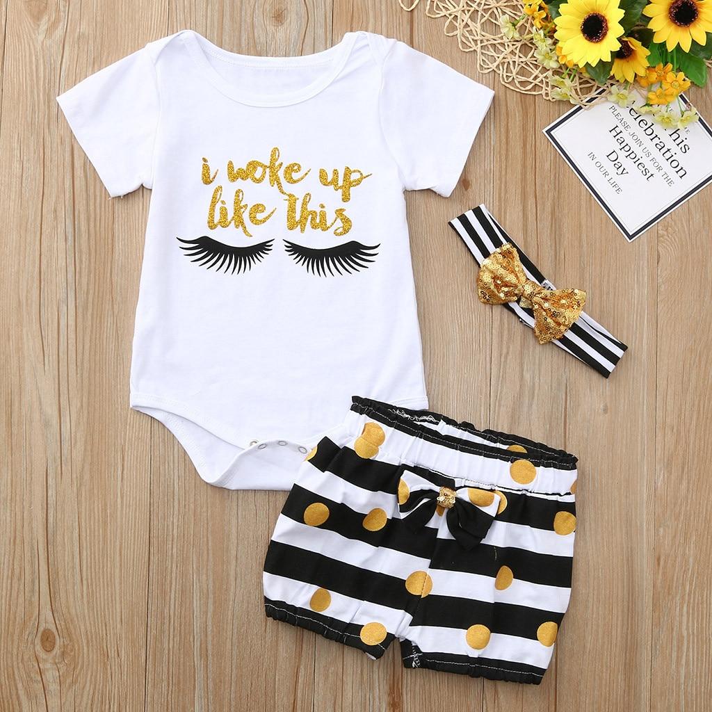 Neugeborenen Baby Mädchen Junge Brief Neugeborenen Baby Kinder Kleidung Set Infant Kinder Outfit Strampler Tops Streifen Shorts Outfits Set SchöNe Lustre