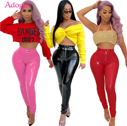 Adogirl Warm Fleece Thicken PU Leather Pants Solid Highly Stretchy Mid Waist Comfortable Pencil Pants Women Trousers Best Gifts