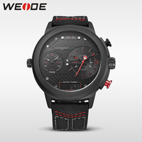 WEIDE Genuine 2017new Nylon Watchband Double Time Zone Red Big Dial Watch Quartz Men Sports Watches