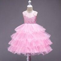 Tuổi teen Multi layer Đảng Pageant Dress cho Cô Gái Cưới Flower Girl Dress Kids Công Chúa Mùa Hè Quần Áo Không Tay