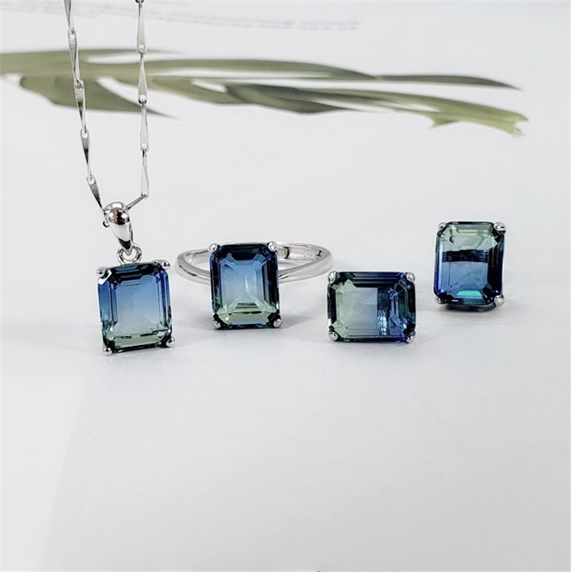 Elegant Princess Square Smoky Crystal Stone Earring Necklace Ring Jewelry Set For Women Sterling Silver 925
