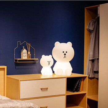 Novelty 2019 30cm Brown Bear Night Light Cony Line friend Night Lamp for Baby Children Kids Christmas Gift  Dimmable LED