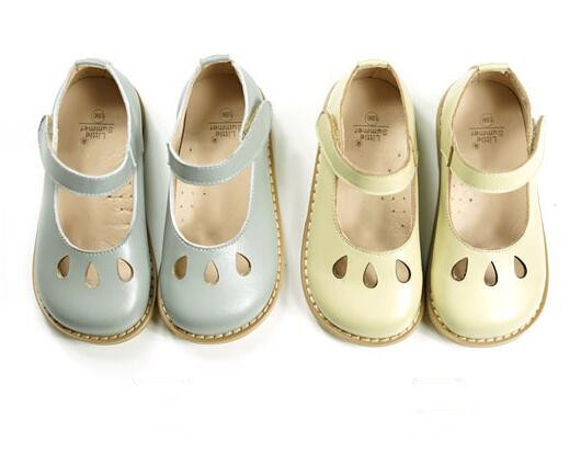 Brand Genuine Leather Children Casual shoes Hollow Water droplets kids Girls Flat shoes Princess mary jane shoes nonslip