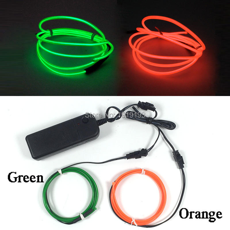 Newest Popular 2.3mm Diameter 1Meter x 2Pcs EL Cold Light Sparkling Neon Led Strip for Fence,Cartoon Model,Motor,Bike Decoration ...