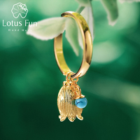 Lotus Fun Real 925 Sterling Silver Natural Turquoise Handmade Designer Fine Jewelry Redbud Flower Rings for Women Bijoux