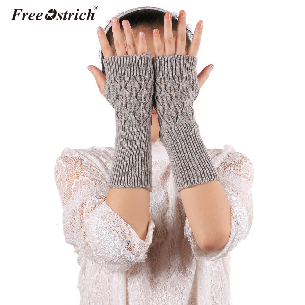 Free Ostrich Gloves Women's Heart Shape Girl Lady Warm Winter Knitted Glove Brief Paragraph Knitting Half Fingerless Hot2