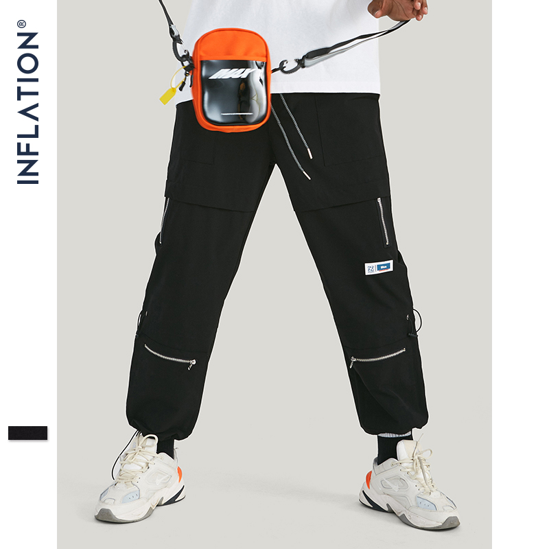 INFLATION 2019 AW New Arrival Windbreaker Pants Men Streetwear Black Men Jogger Pants Faker Zipper Drawstring Pants 93317W
