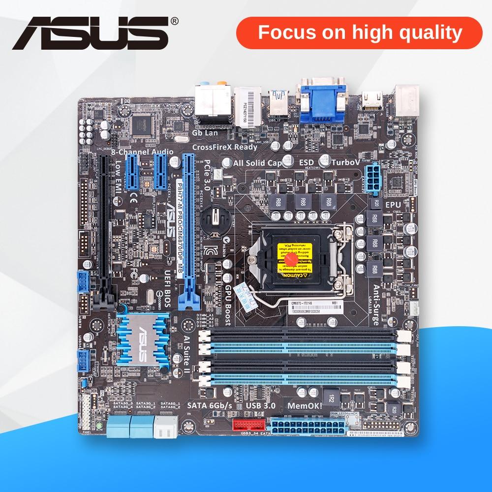 Asus P8H77-M PRO/CM6870/DP Desktop Motherboard H77 Socket LGA 1155 i3 i5 i7 DDR3 32G uATX msi original zh77a g43 motherboard ddr3 lga 1155 for i3 i5 i7 cpu 32gb usb3 0 sata3 h77 motherboard