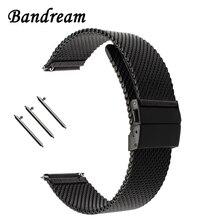Milanese Correa de reloj con hebilla de mariposa para Diesel Fossil Timex Armani DW CK, de 18mm correa de reloj de acero inoxidable, 20mm y 22mm
