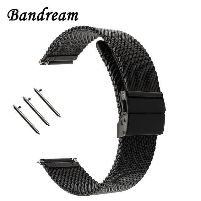 Milaneseผีเสื้อสายคล้องคอสำหรับดีเซลFossil Timex Armani DW CKนาฬิกาเข็มขัดสแตนเลส18มม.20มม.22มม.