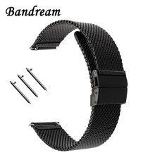 a8ec01b92a7c Correa de reloj milanesa con hebilla de mariposa para diésel fósil Timex  Armani DW CK correa de reloj de acero inoxidable 18mm 2.