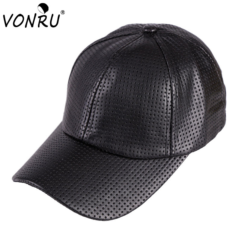 New Autumn Winter PU Leather Caps Baseball Cap Biker Trucker casquette  Snapback Hats For Men Women Hats And Caps 378bb5a43e97