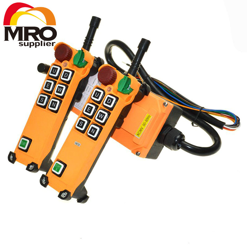 OBOHOS 6 Channel 1 Speed 2 transmitters Hoist Crane Truck Radio Remote Control System with E-Stop XH00064 free shipping 6 channel 1 speed 2 transmitters hoist crane truck radio remote control push button switch system with e stop