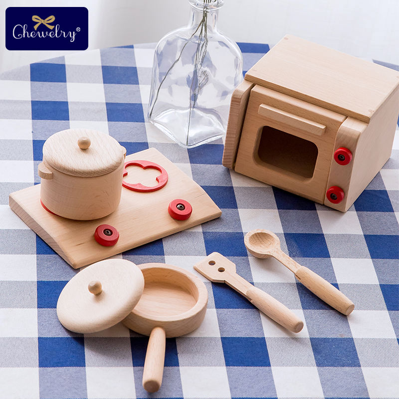 5pc Wooden Kitchen Toys Cookware Pot Pan Gift Microwave Oven Kindergarten For Girls Toys Pretend Play Children Miniature Food