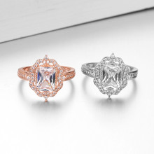14K Rose Gold Diamond topaz Ring for Women Wedding Jewelry 14k Gemstone Topaz Bizuteria 925 Luxury Anillos ring box