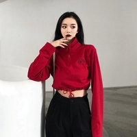 Jazz High Waist Hip hop Slim Sweatshirt Red Long Sleeved Short Lumbar Sweatshirts Female Sexy Streetwear Women Clothes DS50506