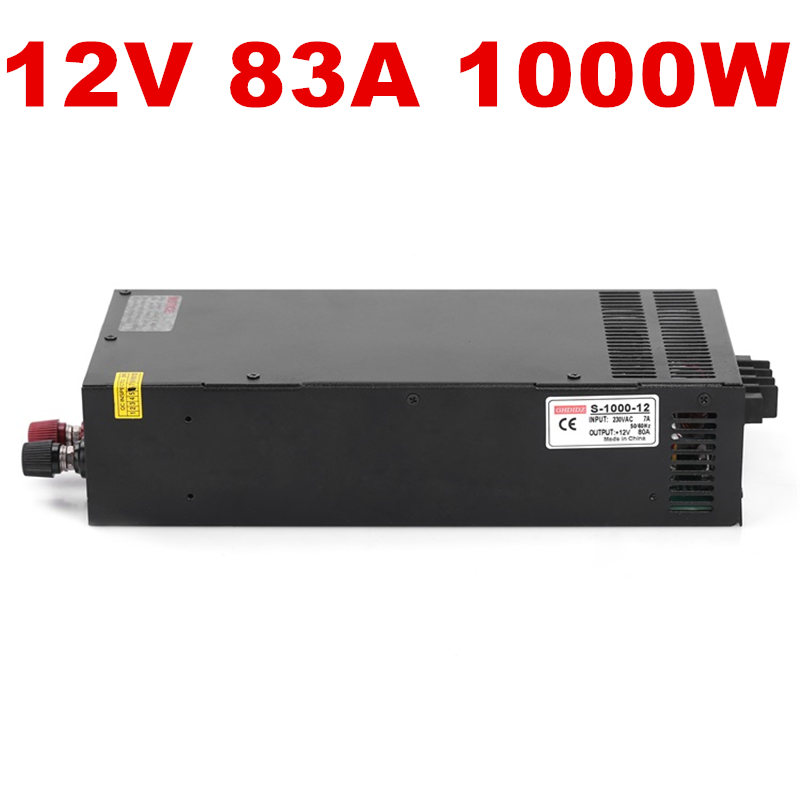 цена на 1PCS 1000W 12V Power Supply 12V 80A AC-DC High-Power PSU 1000W DC12V S-1000-12 LED Driver CCTV 110/220VAC 12V80A