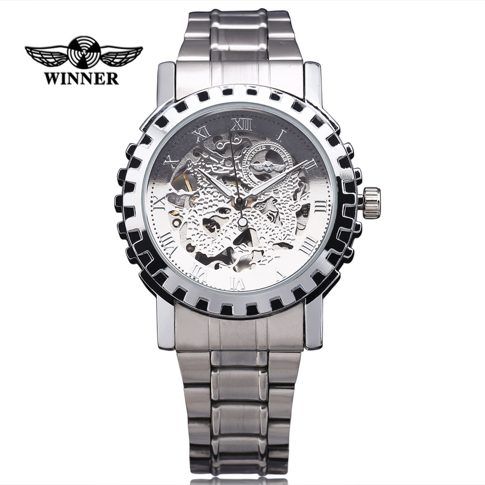 2016 Winner Famous Brand Men Mechanical Automatic Gold Watches Male Skeleton Steel Fashion Wrist Watches Dragon Dial Gear Case 2017 winner famous brand men fashion automatic self wind watches white dial transparent glass silver case stainless steel band