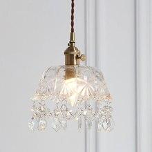 Винтажная латунная Хрустальная стеклянная Подвесная лампа, Светильники для гостиной, стеклянная Европейская ретро Подвесная лампа, винтажная одинарная лампа