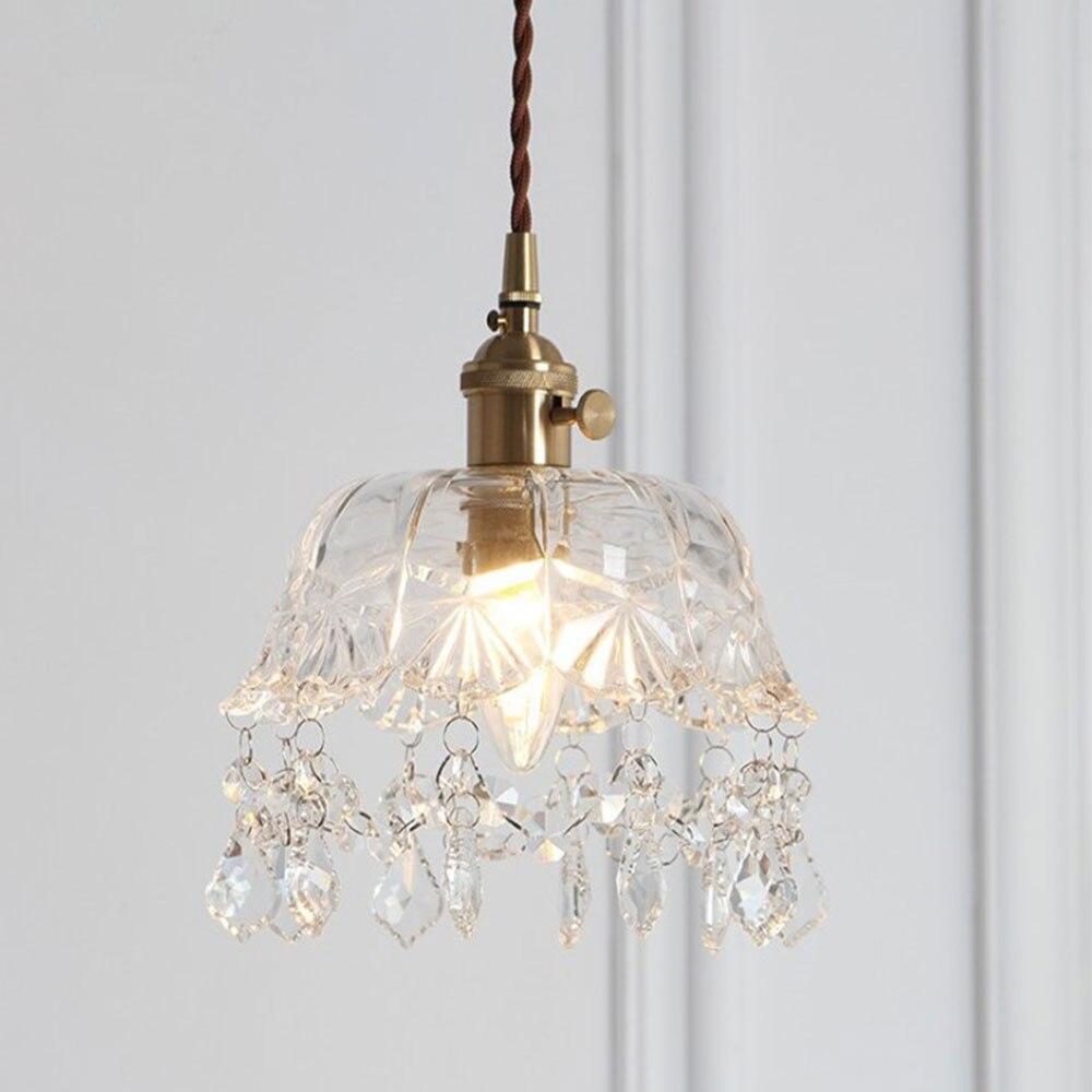 Vintage Brass Crystal Glass Pendant Lamp Living Room Fixtures Glass European Retro Pendant Lighting Vintage Single Head Lamp