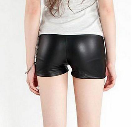 E22 New 2015 Women Sexy PU Leather Shorts Black Punk Sexy Shorts For Women