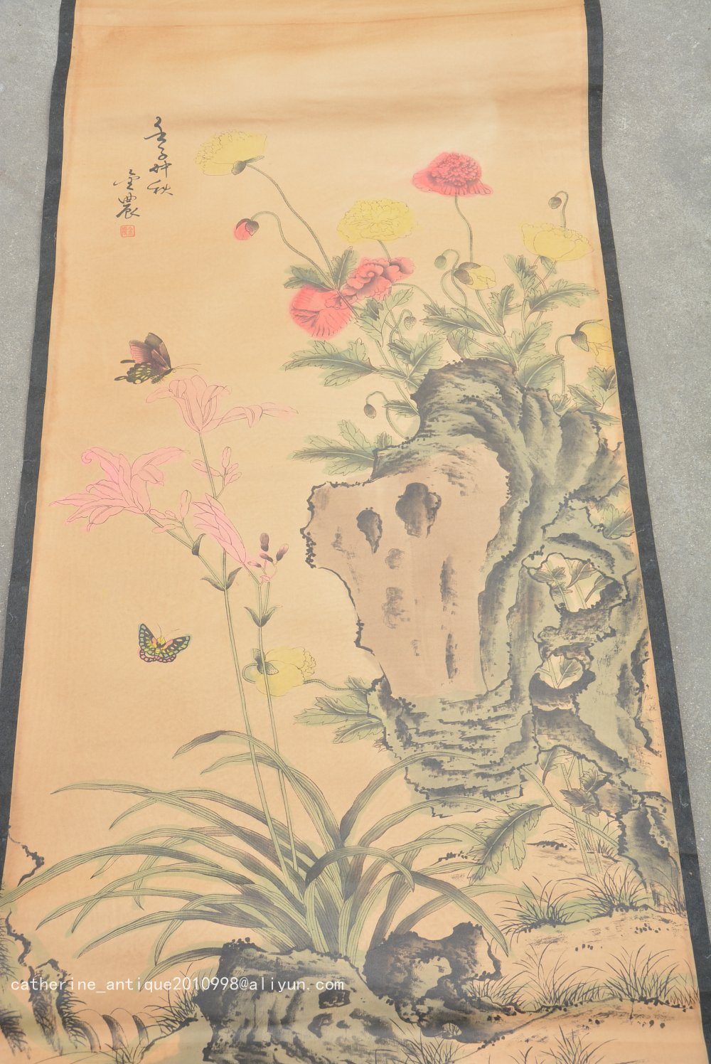 Rare Hand-painted QingDyansty Chinese vertical axis paintings,butterfly, free shippingRare Hand-painted QingDyansty Chinese vertical axis paintings,butterfly, free shipping