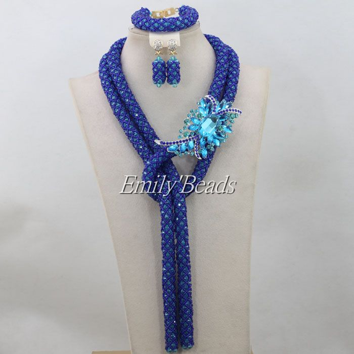 2016 Latest Nigerian Party Beads Jewelry Set Royal Blue Sand Beads ...