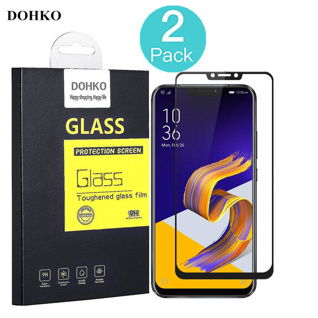 2 PACK DOHKO For Asus zenfone 5Z ZE620KL Tempered Glass 0.26m 2.5D HD Full Cover Screen Protector For Asus zenfone5 ZS620KL
