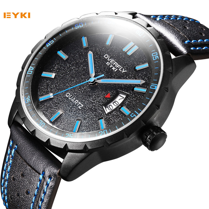 EYKI Luxury Brand Waterproof Leather Military Army Wrist Watch Men Quartz Analog Male Clock Meskie Zegarki Black Sport Watches weide men s watches luxury analog leather watch quartz men sport bracelet watches waterproof schocker clock men wrist watch army