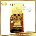 1 unidades 100% garantía de reemplazo 24 k oro espejo puerta trasera de vivienda para iphone 6 edición limitada cráneo back cover + botones + herramientas