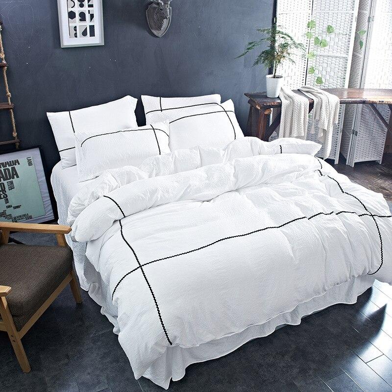 Pure Color Wash Cotton Four-Piece Suit Duvet Cover Home Textile Bedding Romantic Lace Series Active Printing Craft Set 3 Size