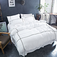 Pure Color Wash Cotton Four Piece Suit Duvet Cover Home Textile Bedding Romantic Lace Series Active Printing Craft Set 3 Size