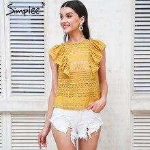 Simplee Sexy ruffle lace blouse women shirts Transparent sleeveless feminine blouse 2018 Summer style white blouse shirt female