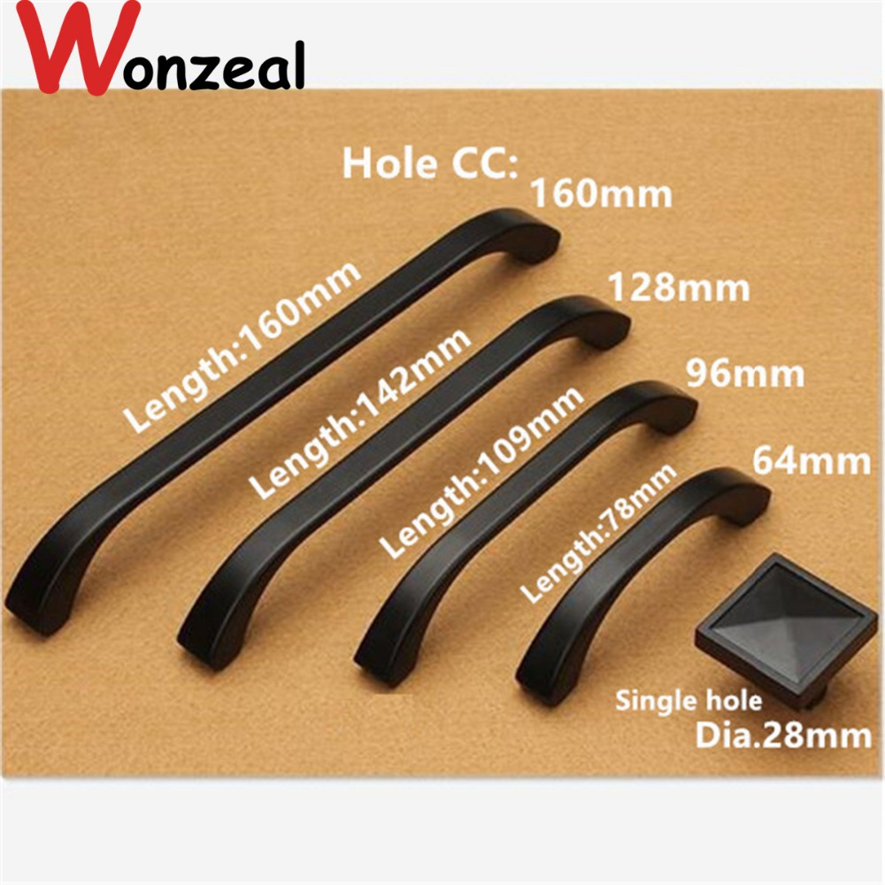 Hole CC 12mm/64mm/96mm/128mm/160mm Zinc Alloy handle modern handle Kitchen Furniture Handle bedroom drawer handle black color hole pitch 64mm 96mm 160mm zinc alloy handle modern handle kitchen furniture handle bedroom drawer handle silver side