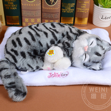 sleeping cat about 30cm gray cat snoring breathing sound cat soft toy model,polyethylene & furs resin handicraft,gift h993