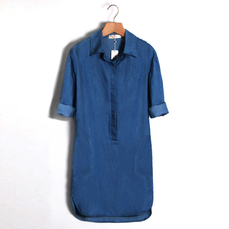 ... Summer Irregular shirt dress Fashion Women Denim Shirt Dress Long  Sleeve Sexy Mini Dress Casual Loose ... 77b7bc842515