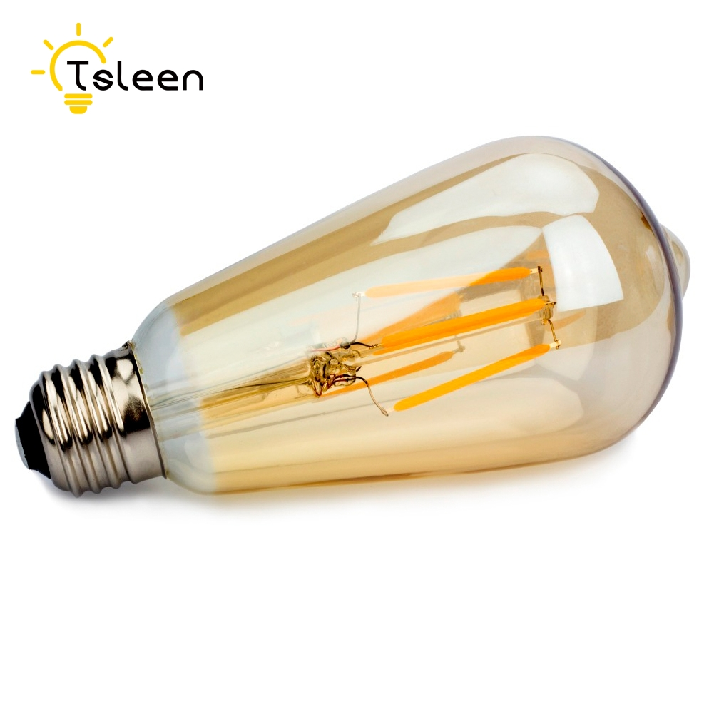+Flash Sale+ 6Pcs E27 4-16W Gold/Transperent Cool/Warm White Retro Edison Filament COB LED Bulb Vintage Ball Light ST64 Lamp # e27 led 8w white warm white cob led filament retro edison led bulbs 85 265v