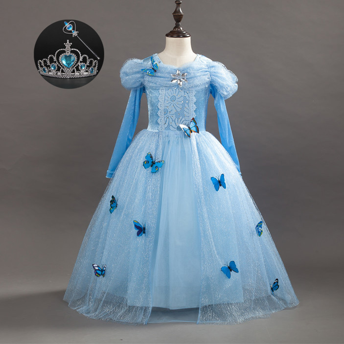 Children Girl Fall Fashion 2017 Gowns for Little Girls Size 3 4 5 6 7 8 9 10 11 Wedding Dress Cinderella Girl Princess Costume baby girls white dresses for wedding and party wear girl princess dress kids lace clothes children costume age 3 4 5 6 7 8 9 10