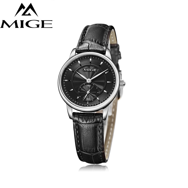 Mige Luxury Women Watches Men Quartz Wristwatches Synthetic Sapphire Crystal 30m Waterproof Genuine Leather Watchband Relogio Ample Supply And Prompt Delivery Watches