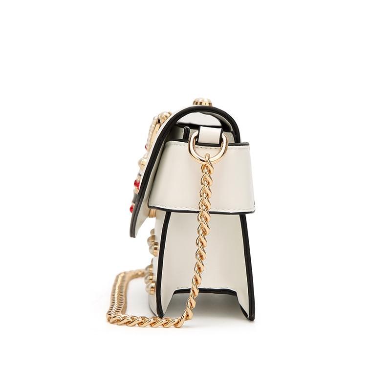 High Quality Leather Handbag Designer Women Crossbody Bags Fashion Color Rivet Bee Ladies Bag 2018 Woman Shoulder Bag sac a main