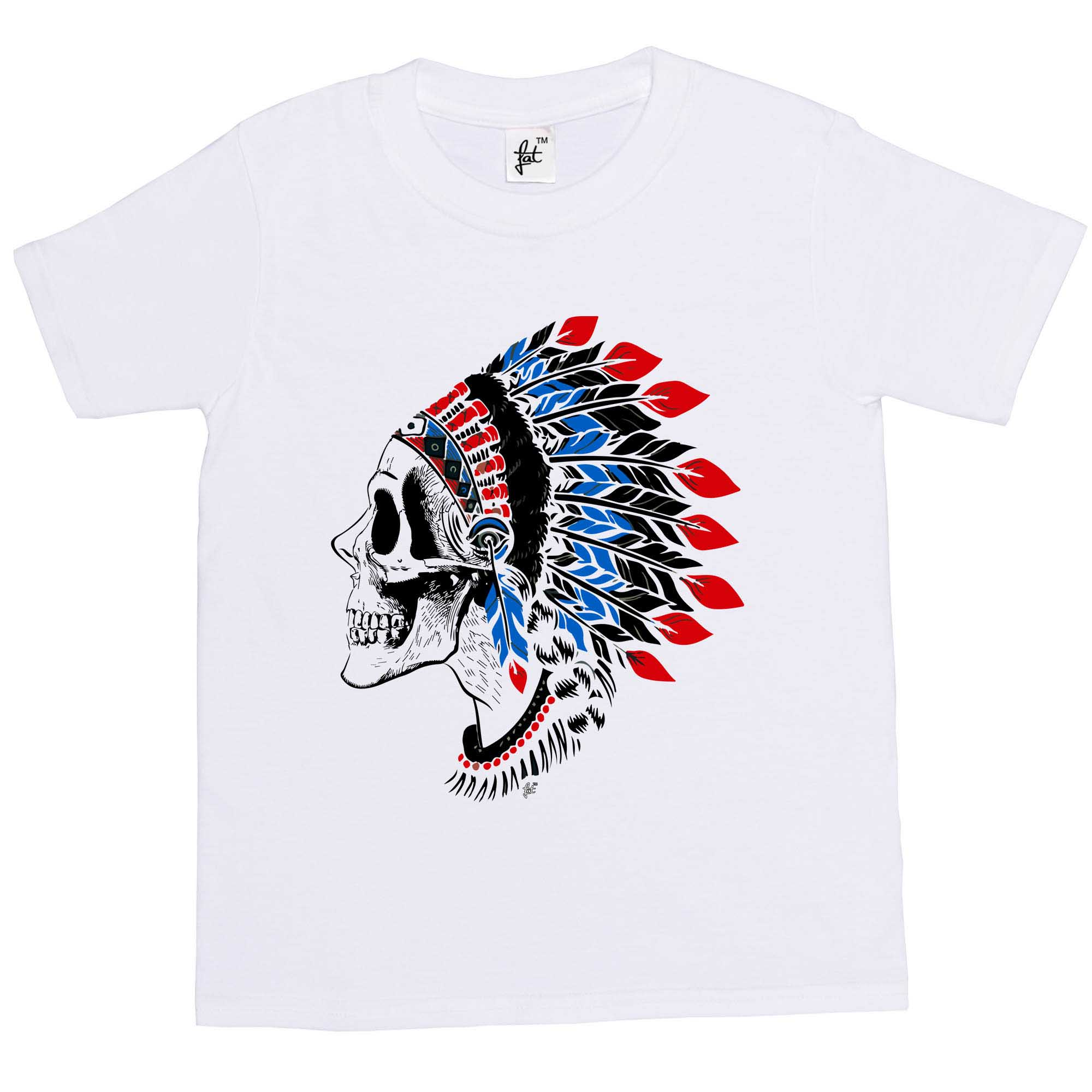 Red Indian Skull Chief Wearing Tribal Feathers Kids Boys Girls T-Shirt